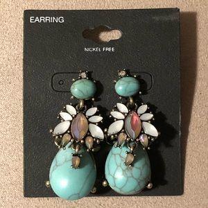 Teal Statement Earrings ✨Nickel Free✨Semi-Precious